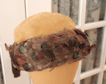 Vintage 1950's Brown Feather Hat