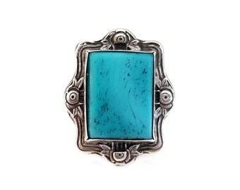 Sterling Silver Turquoise Stone Southwestern Ring - Floral Roses, Statement Ring, Boho Ring, Vintage Ring, Rings for Her, Size 7.5