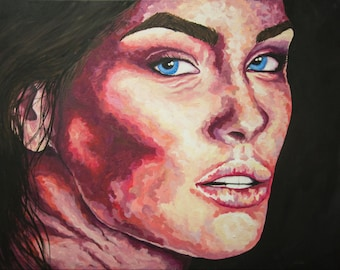 Textured Impressionist Portrait of Woman's Face Original Acrylic Painting on Gallery Wrapped Canvas Art by Breanna Deis