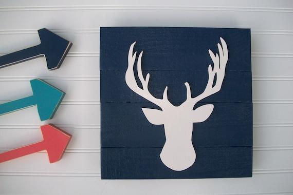 Deer Head .Deer Oh Deer . Antler Sign . 3D Sign . Country Nursery . Boho .Wood Deer Sign . Buck . Tribal Nursery Art . Woodland Decor