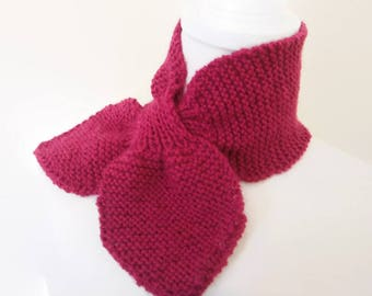 Magenta Pure Wool Bow Tie Scarf Ascot