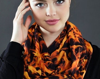 FIRE Flame Infinity Scarf, Circle Scarf, Tube Scarf, Scarves, Shawls, Spring  Fall  Winter Fashion, Aslidesign gift for her Summer Scarf