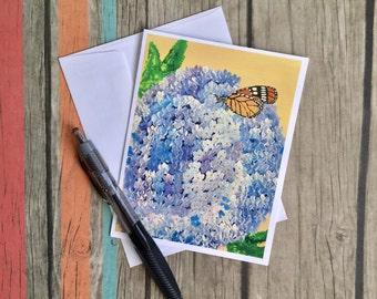 Hydrangea Card Butterfly Card - Flower Card - Card with Envelope - Floral Card - Card Handmade - Original Artwork Card - Custom Notecard