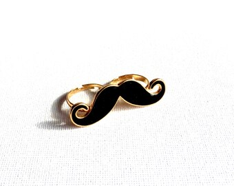 large shiny black mustache ring gold plated double ring/ring mustache/fantasy/black gold.