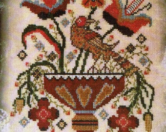 Tulip Heart Vase by Dames Of The Needle Counted Cross Stitch Pattern/Chart