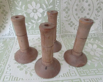 Antique Bobbin,  VINTAGE Wooden Spools,  VTG Supply For Craft, Candle, Mid-Century Wood Spools