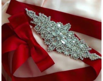 Bridal sash, wedding sash, sparkling glass sash, large size sash, clear crystals sash, rose gold sash,