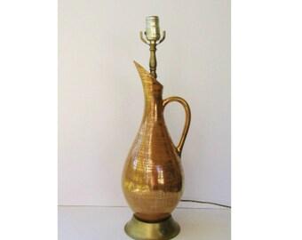 Vintage Mid Century  Modern Table Lamp - Pitcher Ceramic Vessel Lamp - Gold and Copper Glaze - Haeger Pottery Vessel -