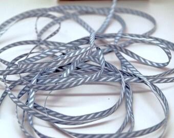 Solid Diagonal Stripe Ribbon -- 1/8 inch -- Silver Wolf Grey