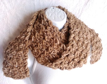 Brown Crocheted Scarf Wool Blend - Very Long - Chunky - Light Brown - Warm Winter Scarf - Great Gift