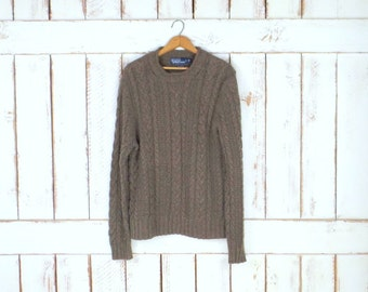Vintage taupe brown chunky cotton/hemp cableknit pullover sweater/Polo Ralph Lauren/slouchy boyfriend sweater/cabin sweater