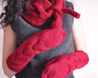 2 in 1 COMBO Winter Charm hand knit chunky cable tie bow scarf and extra long full hand gloves mitts SET cranberry red or Choose Your Color