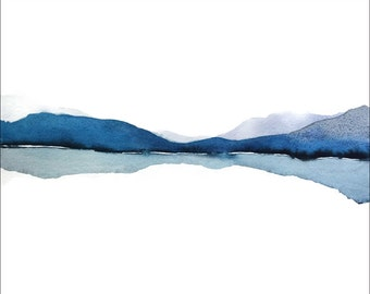 Abstract Landscape Watercolor Painting, Abstract Watercolor, Modern Watercolor Print Art,Water Painting, Blue Mountain Reflection Art Nature