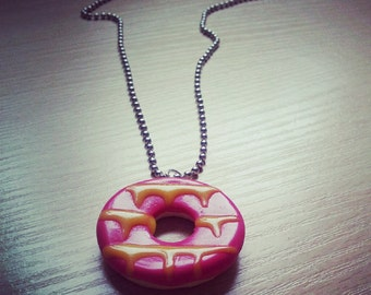 Pink & yellow party ring necklace