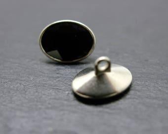1 black swarovski button 15 x 12 mm