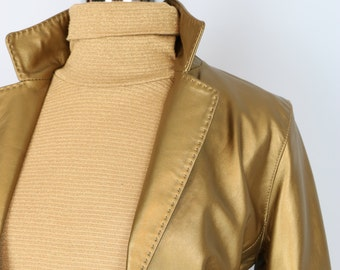 1990s Blazer - Gold Leather Blazer - Groovy Vintage Metallic Gold Fitted Jacket - Size Small