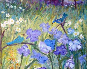 Iris and birds - Trivet/Coaster/Plaque
