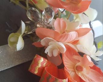 wrist corsage: Coral  & white