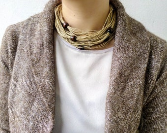 Linen cord necklace, Natural rope necklace, Eco friendly jewelry, Beige bib necklace, Rustic Organic unique fiber necklace with wood beads