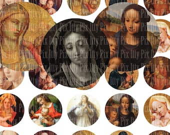 Virgin Mary - Madonna digital collage sheet - 1/2 inch circle digital collage - Instant Download