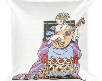 Square Pillow, Baroque Lady with a Lute 18 Inches by 18 Inches