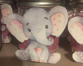 Baby Girl Elephant Mason Jar Center Piece or Utensil Holders for Baby Shower