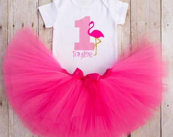 Flamingo Birthday Outfit...Flamingo First Birthday...1st Birthday Girl Outfit...Flamingo Party Outfit...Hot Pink Tutu...First Birthday Tutu