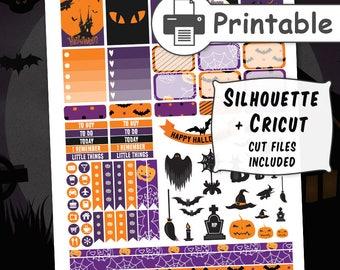 PRINTABLE Halloween Planner Stickers, October Planner Stickers, Fall planner stickers for use with Erin Condren Life Planner + Cut files
