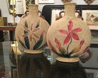 Ca. 1950s Pair of Sand Art Ceramic Vases