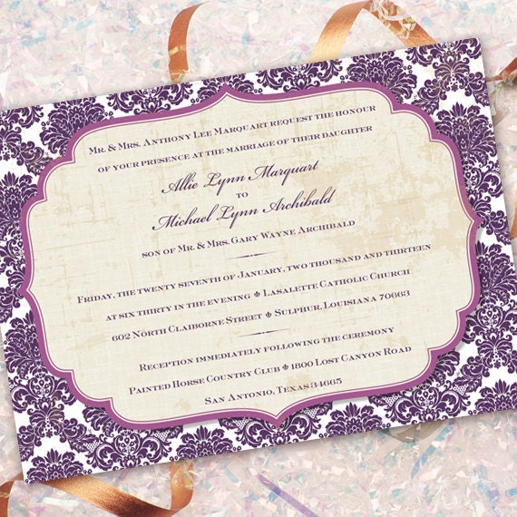 wedding invitations, plum wedding invitations, purple wedding invitations, bridal shower invitations, eggplant wedding invitations