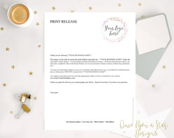 EDITABLE Print Release, Photography Print Release, Copyright Letter, Photography Forms, Photographer Resources, Photography Business Forms