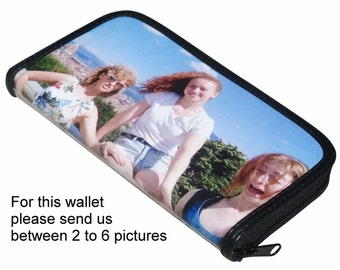 Extra LARGE custom zip wallet for women made using pictures from you - FREE SHIPPING - gifts for mom girlfriend personalized purse handbag