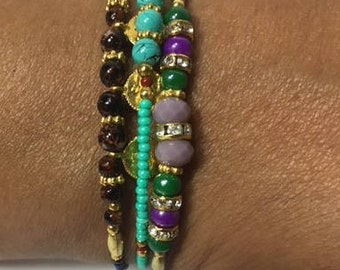 Prayer Bracelets, a variety of beads, stones, crystals in Gold and Silver tone, Set of 3 Bracelets.