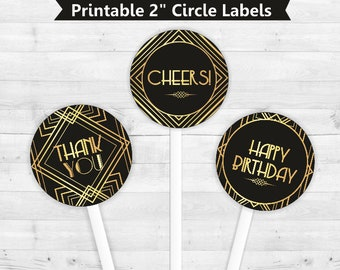 Great Gatsby, Art Deco Round labels, stickers,  toppers, Instant Download,