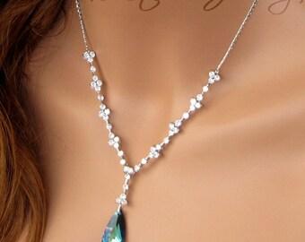 Peacock Bermuda Blue Teardrop Crystal Bridal Necklace - MARISSA