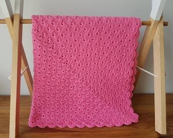 Crocheted pink baby blanket / pram blanket