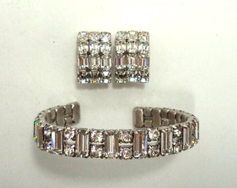 Vintage Signed Eisenberg Clear Crystal Rhinestone Cuff Bracelet Clip On Earrings Set Bride Prom Special Occasion Jewelry