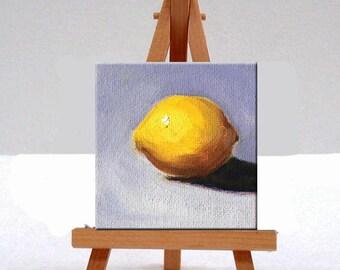 Miniature Oil Painting, Little Lemon, 3x3 Canvas, Tiny Wall Decor, Citrus Fruit, Yellow Blue, Original Food Art, Tropical Fruit, Minimalist