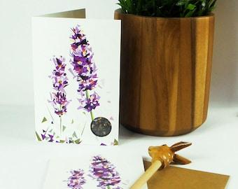 British Lavender Greeting Card- Wildlife - Nature - wildflowers - Garden - Flowers - Illustration - British Gardens