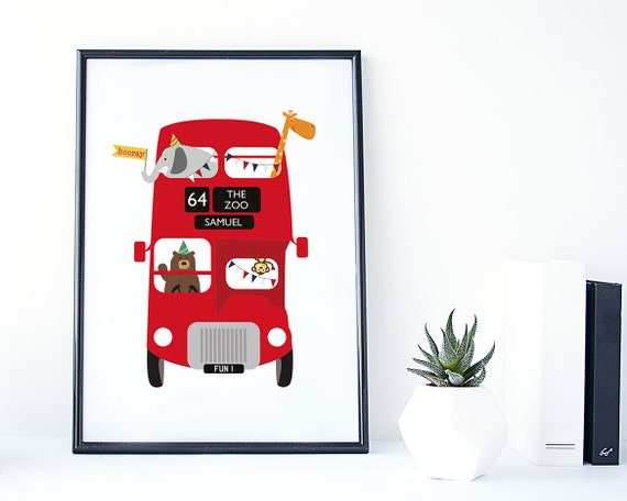 Zoo animal red bus print personalised childrens print zoo zoo animal red bus print personalised childrens print zoo bus print london bus print red bus baby gift christening gift uk negle Gallery
