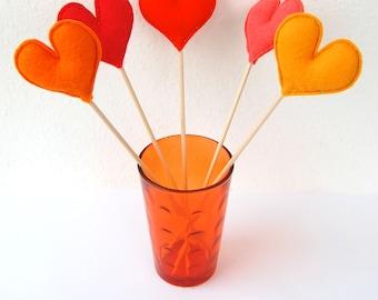 Bunch of Orange Felt Hearts - Set of 5 Plush Handmade Felt Love Hearts on sticks in shades of orange. Heart Toppers. Felt Heart Sticks.
