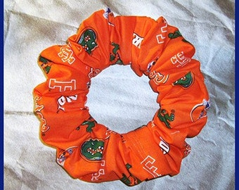 University of Florida Hair Scrunchie, Gators Orange Ponytail Holder, College/School/Sport Hair Tie