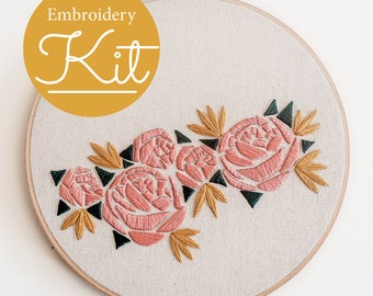 Geometric Florals Embroidery Kit ~ Do it Yourself Embroidery Kit with Pattern