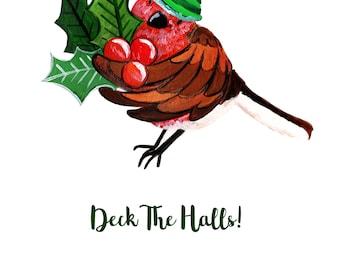 Deck The Halls, C5 Robin, Christmas Card