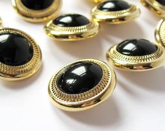 Vintage Gold Rim Buttons - 7/8 Inch Vintage Black Buttons - Metallic Fashion Trim - Plastic Shank Button - Gold Blazer Buttons New Old Stock