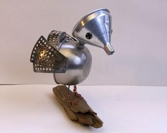 OOAK Handmade Metal bird sculpture bot, found object art, found object bird