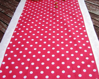 Polka Dot Table Runner, Red White Cotton LinenTablecloth, Handmade Linens, Dotted Table Top Mittered Corner