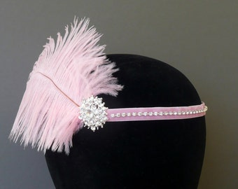 Flapper Headband Pale Pink Feather Headpiece 1920s Fascinator Art Deco 20s Crystal