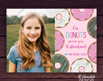 Kids Valentine with Photo | Donuts about You | Custom Printable Valentine Card | Sweet Valentine's Day | Happy Valentine's Day Photo Card