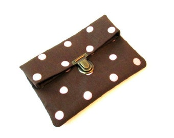 Fold over clutch, light pink polka dot clutch bag with bronze purse thumb lock, brown makeup bag, brown small folded clutch pouch